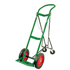 "Cylinder Cart, Steel, Green, Capacity 1, 46"" H x 15"" D x 15"" W, 2 Whls, 2 Retractable Casters, 30 lb"