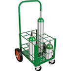 Cylinder Cart, Steel, Green, Capacity 12, 42in H x 20in D x 22in W, 2 Wheels, 2 Casters, 44lbs