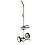 "Cylinder Cart, Steel, Green, Capacity 2, Mask Hook, 41"" H x 10"" D x 14"" W, 2 Wheels: 6"", 8 lbs"