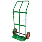 Cylinder Cart, H, T Cylinders, 2 Cylinder Capacity, 46in H x 28in D x 25in W, Two 10in Wheels, 31 lbs, Safety Chain, Green
