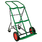 Cylinder Cart, H, T Cylinders, 2 Cylinder Capacity, Foldable Rear Assembly, 46in H x 28in D x 25in W, 41 lbs, Two 10in  Wheels, Two 4in Swivel Casters, Green