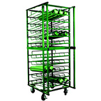 Cylinder Cart, 50 Cylinder Capacity D E, 100 Cylinder Capacity M7 M9 C, Layered, Four 5in Casters with Brake, 73in H x 32in D x27in W, 190 lbs, Green