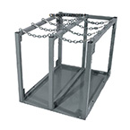 Modular Cylinder Rack, H, T Cylinders, 8 Cylinder Capacity, Safety Chain, Green