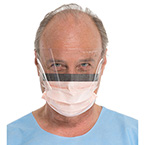 Procedure Mask, Fluidshield, Fog Free, Splashguard Visor, Pleated, Earloops, Foam Band, Orange
