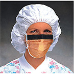 Procedure Mask, Fluidshield, Fog Free, Wraparound Splashguard Visor, Pleated, Earloops, Orange