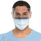 Procedure Mask, The Protector, Fog Free, Wraparound Splashguard Visor, Pleated, Earloops, Blue