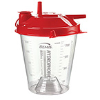Rigid Suction Canister, Hydrophobic, Red Lid, Pour Spout, Vacuum, Patient Ports, Built-In Critical Measure, Shutoff Filter, 800 cc