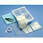 Tracheostomy Care Kit, Tray, Forceps, Gloves, Dressing, Towel, Sponges, Cleaners, Applicators, Brush, Twill Tape