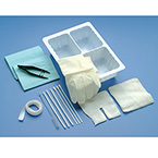 Tracheostomy Care Kit, Tray, Removable Basin, Catheter, Gloves, Dressing, Towel, Sponges, Cleaners, Applicators, Brush, Twill Tape