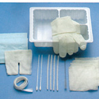 Tracheostomy Care Kit, Standard, Tray, Gloves, Dressing, Towel, Sponges, Cleaners, Applicators, Brush, Twill Tape