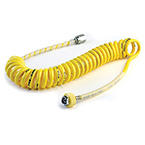 Air Hose, 15ft, Single Coil, Self-Coiling, DISS Fittings, Yellow