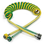 Dual Ventilator Hose, Coiled, DISS Fittings, 15ft