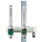 Dual O2 Flow Meter Manifold, 0-15LPM, 0-70LPM with DISS Male Inlet, Pole Mount