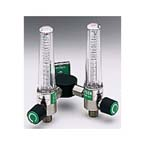 Flowmeter, Dual, Soft-Touch Timeter, Oxygen, 15 LPM, Wye Bar, Ohmeda Fitting, Power Take-Off