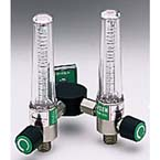 Flowmeter, Dual, Soft-Touch Timeter, Oxygen, 15 LPM, Ohmeda Male, w/Y Bar, 2 Power Take Off