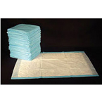 Underpad, Fluff, White Spunbonded Facing, Cellulose Fill, Blue Polypropylene Backing, 23 x 24 in