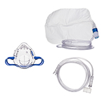 Procedural Oxygen Mask, 7ft Oxygen Supply Line, High and Medium Concentration Oxygen Adapter, Pediatric