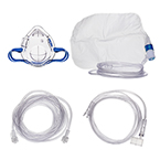 Procedural Oxygen Mask, 7ft Oxygen Supply Line, Medium and High Concentration Oxygen Adapter, Male to Male, 10ft Sample Line, Pediatric