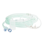 Divided Cannula, Adult, End Tidal CO2 Sampling, 7-ft O2 Line, 2-in CO2 Pigtail, Luer Lock Female