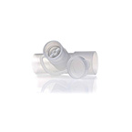 Neb Tee, In-Line, with Valve, 22mm OD x 18mm ID x 22mm ID, Port Accepts Most Small Volume Nebulizers
