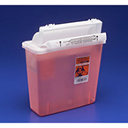 Sharps Container, In-Room, SharpStar Lid, Door, Transparent Red, 2.5H x 5.5D x 10.75W, 5 Quart