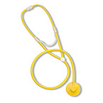 Stethoscope, Dispos-A-Scope, Plastic Binaural, Single Patient Use, Yellow