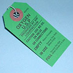 Oxygen Cylinder Tag, Paper, Reads Empty, In Use or Full