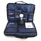 Blood Pressure Kit, MediCuff 3, Palm Aneroid Gauge, Carrying Case, 3 Cuffs, Navy