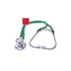 Stethoscope, Sprague Rappaport, 3 Bells, Adjustable Binaural, Eartip Kit, 2 Diaphragms, 22 in, Red