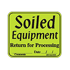 Label, Soiled Equipment, 3 in x 3 1/2 in, Roll, Green