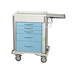 Cart, Emergency, Select Series, 5 Drawer, w/Breakaway Lock Bar, Aluminum, Slate Blue