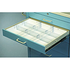 Tray, Full Drawer, Medical Cart Accessories, 2 Rails, 6 Dividers