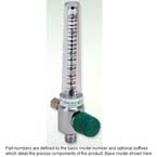 Oxygen Flowmeter, O2, Chrome, 0-15 LPM, No Adapter, 1/8 NPT Female