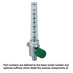 Oxygen Flowmeter, 0-70 LPM, DISS Female Hand Tight Connector, Left Elbow