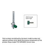 Oxygen Flowmeter, 0-70 LPM, DISS Female Hand Tight Connector, 40 LPM Restrictor