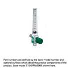 Oxygen Flowmeter, Low Flow, 0-200cc, DISS Male, Right Elbow