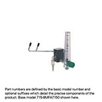Eliminator, 24 LPM Fixed Flow Barb, Ohmeda Connector, Compact Flowmeter
