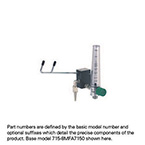 Eliminator, Adjustable Fixed Flow Barb, DISS Female Hand Tight Connector, Compact Flowmeter