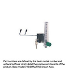 Eliminator, Adjustable Fixed Flow Barb, DISS Female Hand Tight Connector, Compact Flowmeter, Off-Set Right