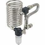 Cooling Coil and Condensation Trap, PM15, Oxygen, O2, 90 Degree DISS Male x DISS Female