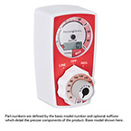 Suction Regulator, Preset, Vacuum, Continuous, 0-300mmHg, 3 Mode (Line/Off/Reg), Bottom Tubing Nipple, Back DISS Hand Tight