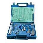 Laryngoscope Set, English Profile, Fiber Optic, GreenLine, Includes Medium Handle, 3 Mac Blades, 4 Miller Blades, Spare Lamp, Case