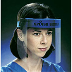 Face Protection System, Splash Shield, Full Length, 13in W x 7 1/2in L, Soft Strap, Disposable