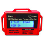 Airway Pressure Monitor, Red, 9V DC Battery, Portable, Alarms, Adult