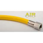 Air Hose, 25ft, Yellow, Coiled, DISS Female Hand Tight, Lever Blow Gun, 150 PSI Max Inlet Pressure