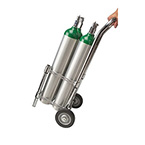 Oxygen Cylinder Cart, Holds 4 D or E Cylinders, 2 Wheel Tilt Back, Chrome