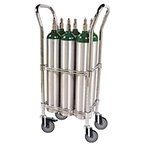 Oxygen Cylinder Cart, Holds 6 D or E Cylinders, Chrome Plated, Dual Handles, 5in Casters, 24lbs
