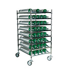 Horizontal Cylinder Cart, Holds 40 E Cylinders, Chrome Plated, 5in Casters with Brakes