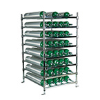 Horizontal Cylinder Rack, Holds 40 E Cylinders, Chrome Plated, Bolt Down Feet
