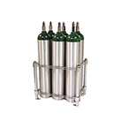 Oxygen Cylinder Rack, Holds 6 E D C or M9 Oxygen Cylinders, Chrome Plated, Bolt Down Feet